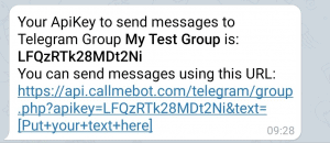 Telegram Group APIKey for BOT